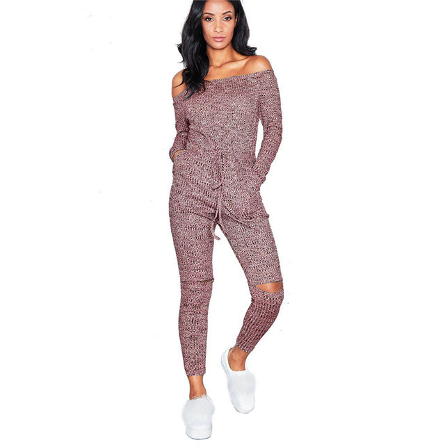 Women's Off Shoulder Long Sleeve Casual Knitted Jumpsuit