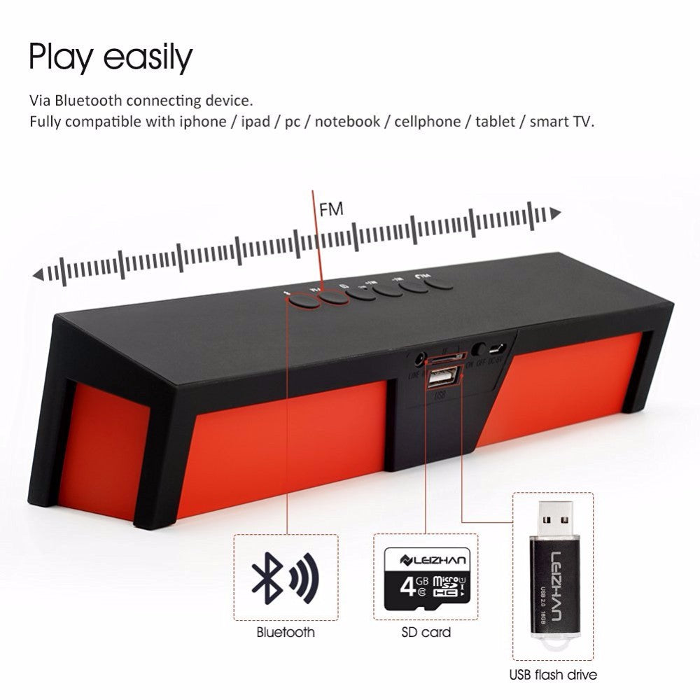 Wireless Bluetooth Portable FM Stereo Sound Bar with Mic & USB Outlet