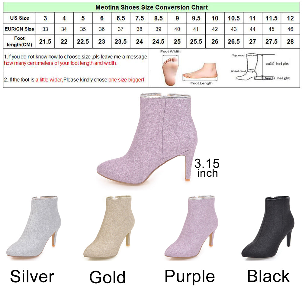 Meotina Women Ankle Boots Warm Winter Boots Zip Ladies Thin High Heel Boots Shoes Bling   Party Shoes Sliver Gold Purple 43