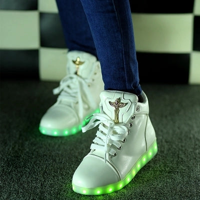 lights up LED luminous shoes high top glowing casual shoes with simulation sole for women Unisex adults neon shoes