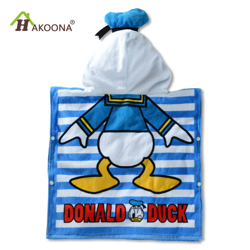 HAKOONA Baby Children Hooded Towel Cotton Fabric Absorbent Soft Bathrobe  Beach Pool Swimming Poncho Cartoon Printed  Wearable