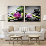 Wall art canvas painting decoration for living room picture 2 Panels Spa Black Stone with Bamboo Flower Photography  Pirnts