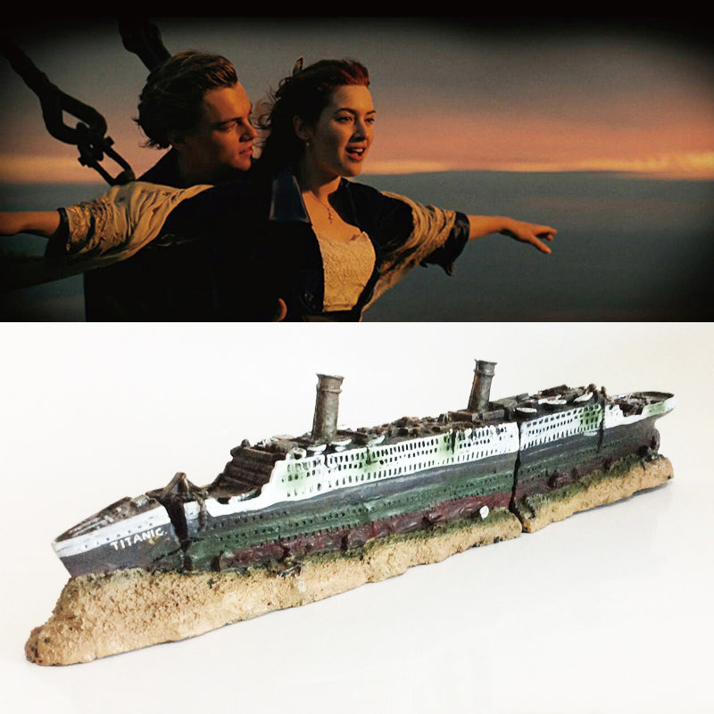 Titanic Lost Wrecked Boat Ship Aquarium Decoration Ornament