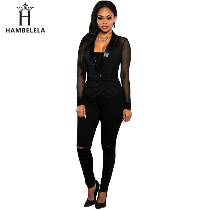HAMBELELA Spring Autumn Women Slim Blazer Coat Fashion Casual Mesh Long Sleeve One Button Suit Ladies Blazers Work Wear