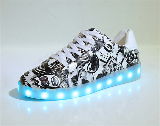 Teenage Children Led Luminous Hip Hop Shoes With Light, Uni  Simulation Sole Flash Shoes Male Women Light Up Glowing Sneakers