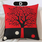 Black Red Tree Pattern Cotton Linen Throw Pillow Cushion Cover