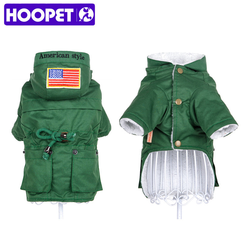 HOOPET Dog windbreaker clothes pet uniform coat warm cotton-padded style clothes autumn Winter