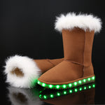 Winter Children USB Charging Led Shoes Girls And Boys Princess Pink Knee Plush Boots Kid Light Up Shoes Women And Men
