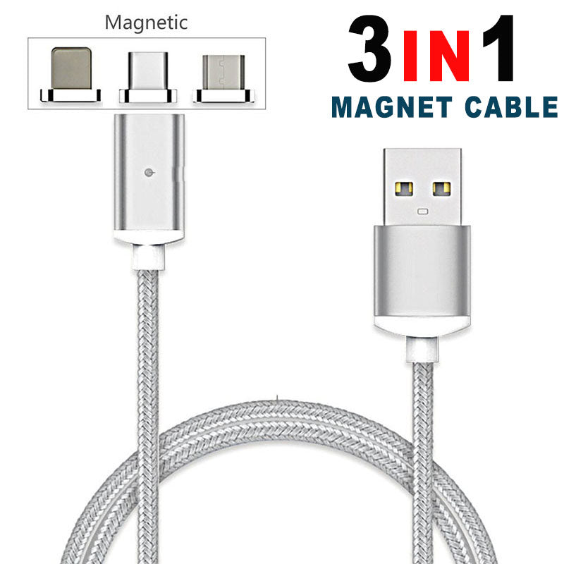 3-in-1 Micro Nylon Magnetic Interchangeable USB Cable for Smart Devices