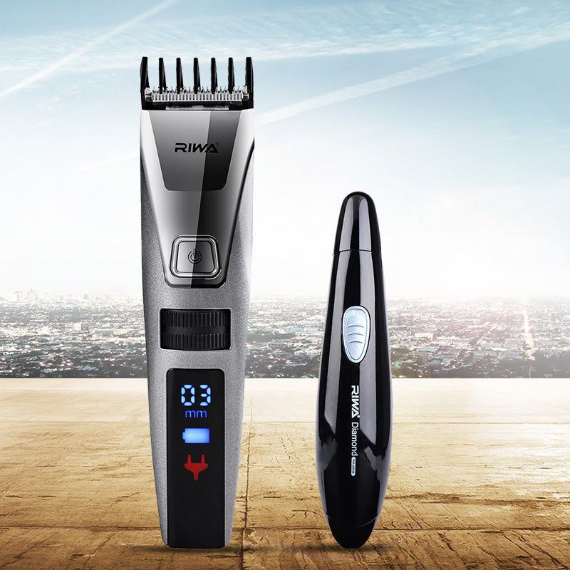 Riwa Quick Charge LCD Hair Clipper Haircut Machine K3+IPX7 Waterproof Shaving Nose Hair Trimmer Removal Cutter for Men&Women