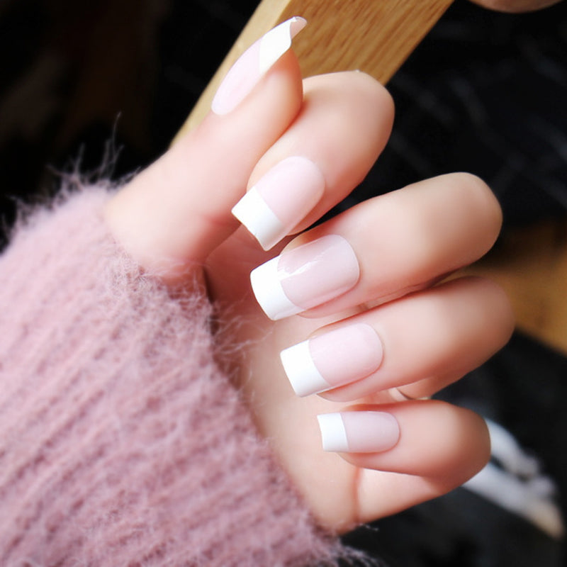 24 Pack: Classic Long White French Artificial Nails with Glue