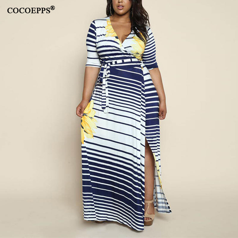 Spring boho Striped Plus Size Maxi Dress Long 5XL 6XL Big Size women clothing New Sexy Large Size sashes Dress Robe Vestido