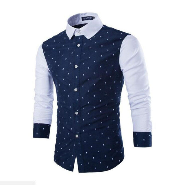Men's Cotton Skull Print Slim Fit Long Sleeve Button Up Dress Shirt