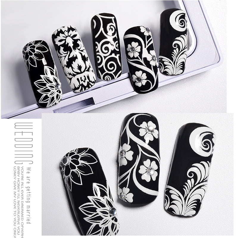 3D White Floral Lace DIY Nail Decal Stickers