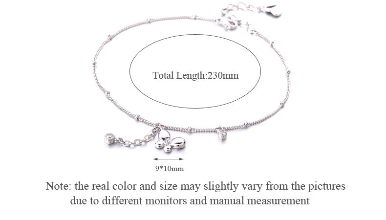 SA SILVERAGE 100% 925 Sterling Silver Beautiful Butterfly Chains Anklets for Women Gift Classic Design Fine Jewelry