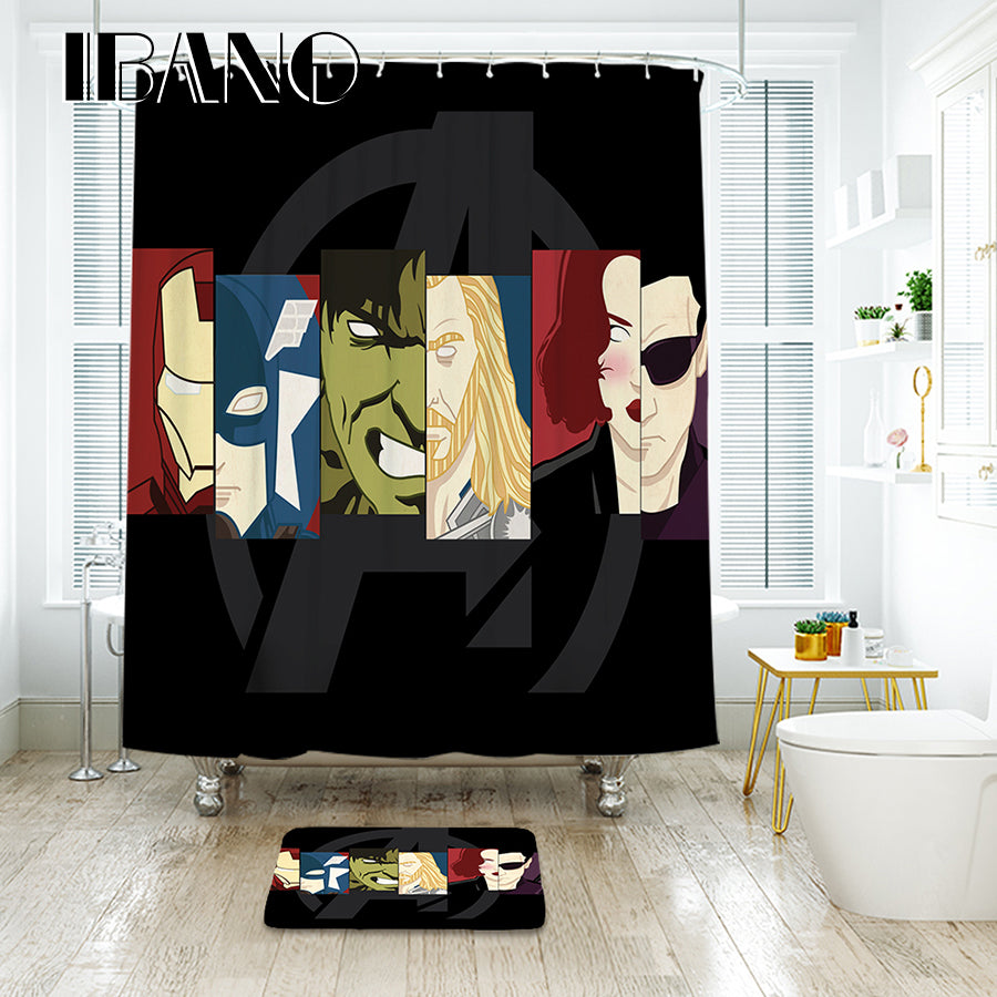 Superhero Waterproof Polyester Fabric Shower Curtain With 12 pcs Plastic Hooks And Floor Mat