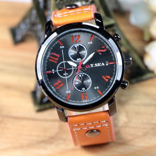 Men's Soft Leather Band Military Sport Quartz Watch