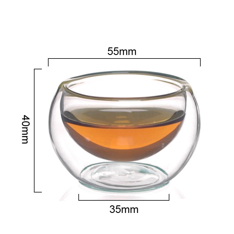 Arshen Durable 50ml Heat Resistant Double Wall Layer Tea Cup Healthy Elegant Clear Water Drinking Cup Flower Tea Cups Glassware