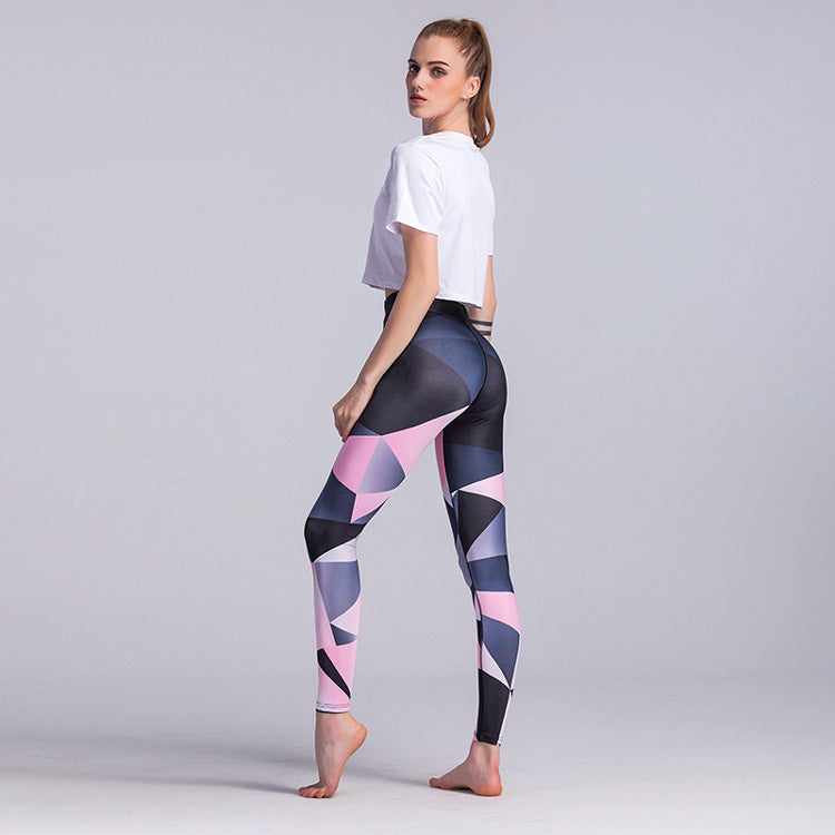 Women's Elastic Waist High geometric Printed Yoga Leggings