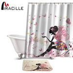 Miracille Beauty Fairy Pattern Shower Curtain Set Waterproof Polyester Fabric Bath Curtain For Bathroom With Non-slip Floor Mat