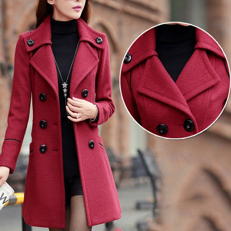 Winter Women Wool Trench Pockets Double Breasted Long Overcoat Solid Slim Elegant Outwear Female Coat