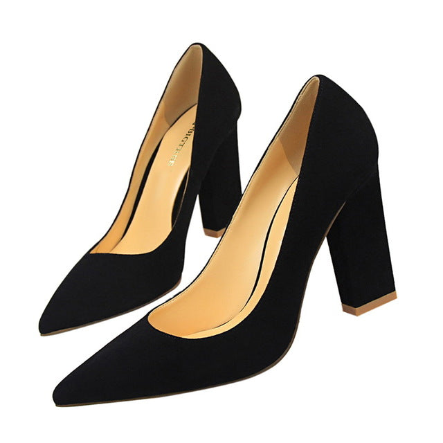 BIGTREE summer women Pointed Toe Square heel shoes woman shallow pumps ladies   Party Wedding Silk High heel shoes size 34-39