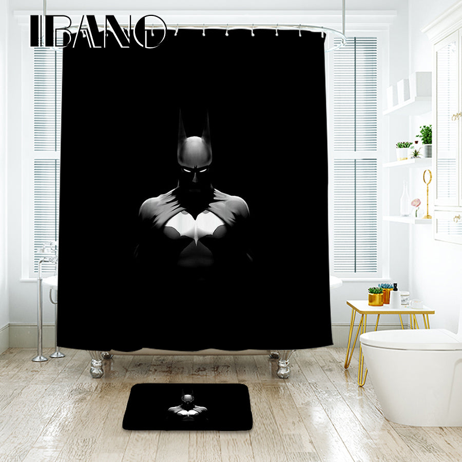 IBANO 3D Batman Black Shower Curtain Waterproof Polyester Fabric Bath Curtain For The Bathroom And The Floor Mat