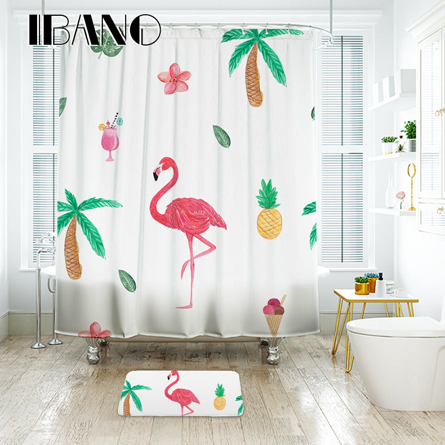 IBANO Flowers Flamingo Shower Curtain Waterproof Polyester Fabric Bath Curtain For The Bathroom 40x60cm Floor Mat