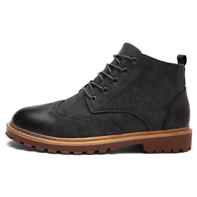 ALEADER Fashion Brogue Shoes Mens Winter Fur Ankle Boots British Stylish Casual Leather Shoes Comfortable Combat Boots For Men