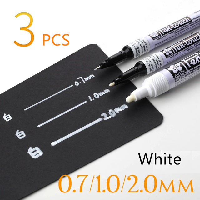 3 pcs Metallic marker pens set Silver Gold White permanent color ink