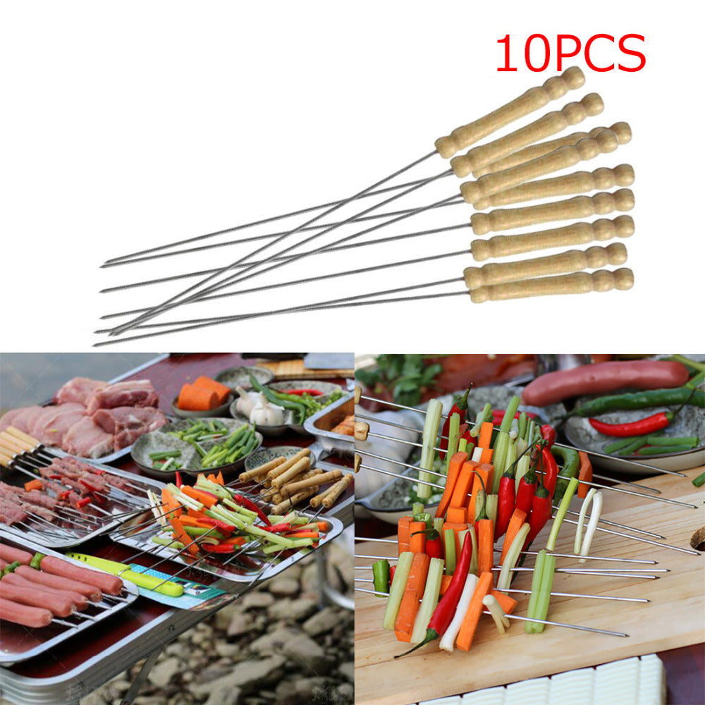 10Pcs Steel Metal BBQ Skewer Grill Kabob Set