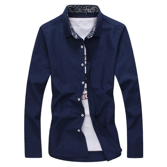 New Arrived Fashion Mens Shirts Long Sleeve Solid Casual Shirt 6Colors M-XXL W1