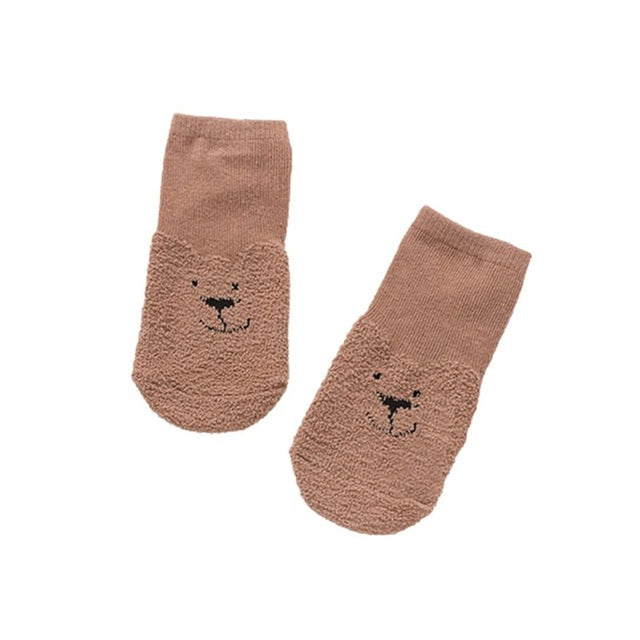 Fashion Winter Cute Baby Animals Printed Coral Velvet Socks Kids Thicken Warm Fluffy Floor Socks