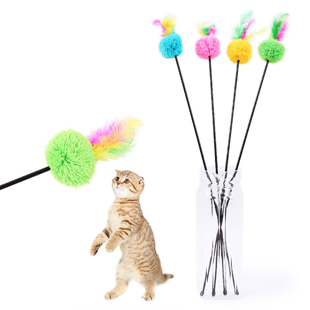 Cat Toys Soft Colorful Pet Feather Bell Rod Toy Kitten Teaser Funny Playing Interactive Toy Pet Cat Supplies