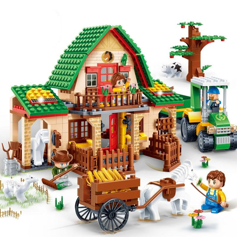 BanBao 8579 Countryside Happy Farm House Bricks Educational Building Blocks Model Toys For Kids Children Compatible With Legoe