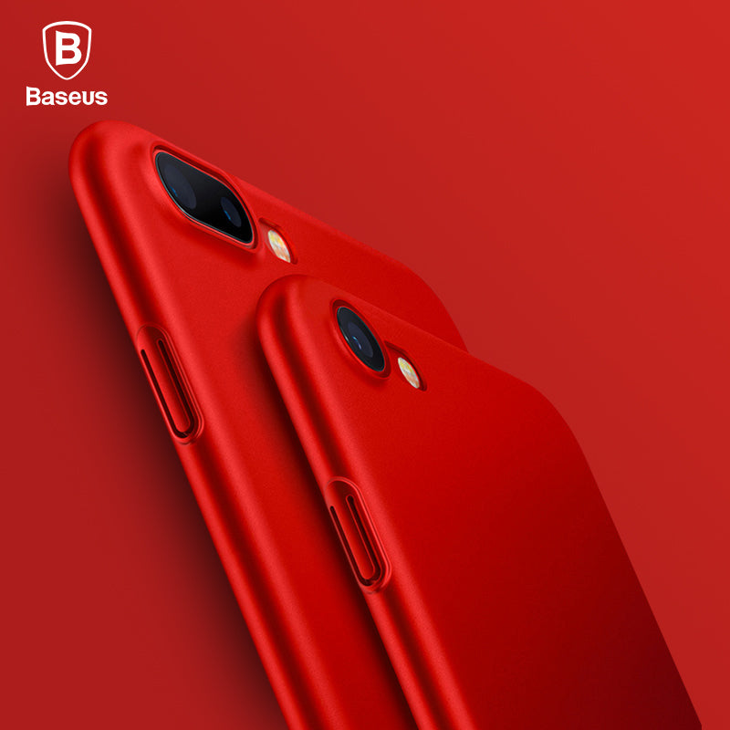 Baseus Luxury Smooth Red Case For iPhone 7 7 Plus X 6 6s Plus Case Thin Hard PC Plastic Phone Cover For iPhone X 8 8 Plus Cases