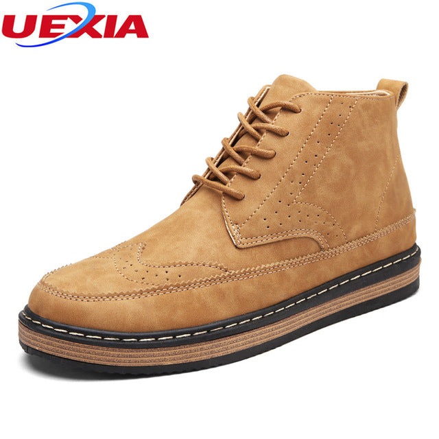 UEXIA Quality Brogue Shoes Men Boots Ankle High Top Martin Motorcycle Autumn Classic Office Casual Hand-sewn Chelsea Botas Homme