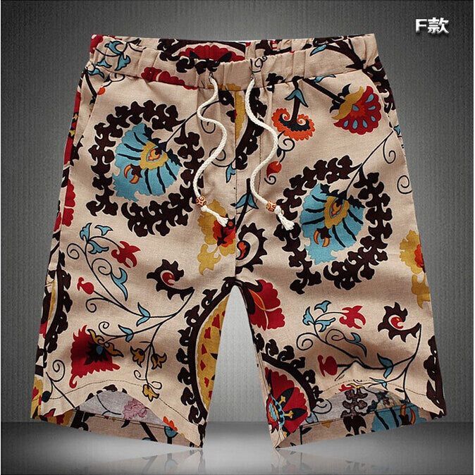 TFGS  Summer Men Short Pants Casual Shorts Trousers Slim Fit Cotton Vintage Flower Print Men's Beach Shorts