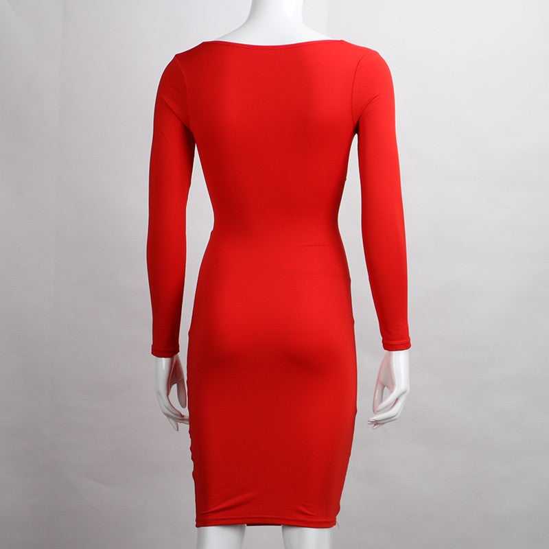 Forefair   Criss Cross Bodycon Dress Women Spring Long Sleeve Night Club Wear Bandage Party Dresses Black Red Blue Vestido