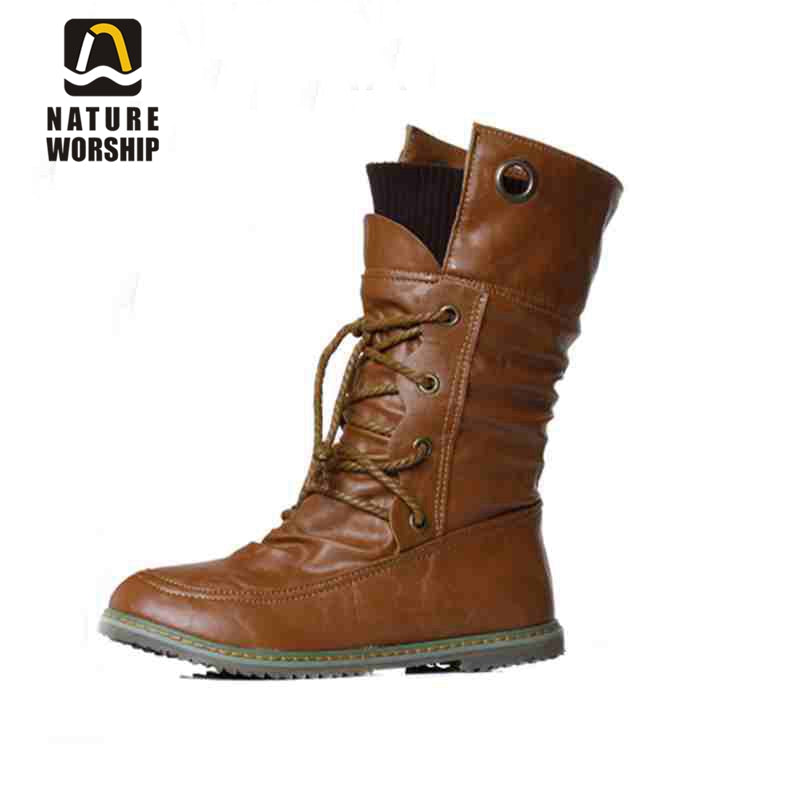 Fashion women shoes winter boots soft leather martin boots ankle boots solid Motorcycle boots flats shoes size 34-43 for women