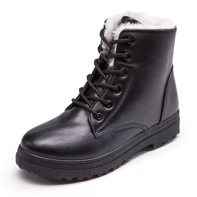 Women Winter Lace-Up Pu Leather Classic boot Shoes New Style Flat Casual Shoes snow Boots