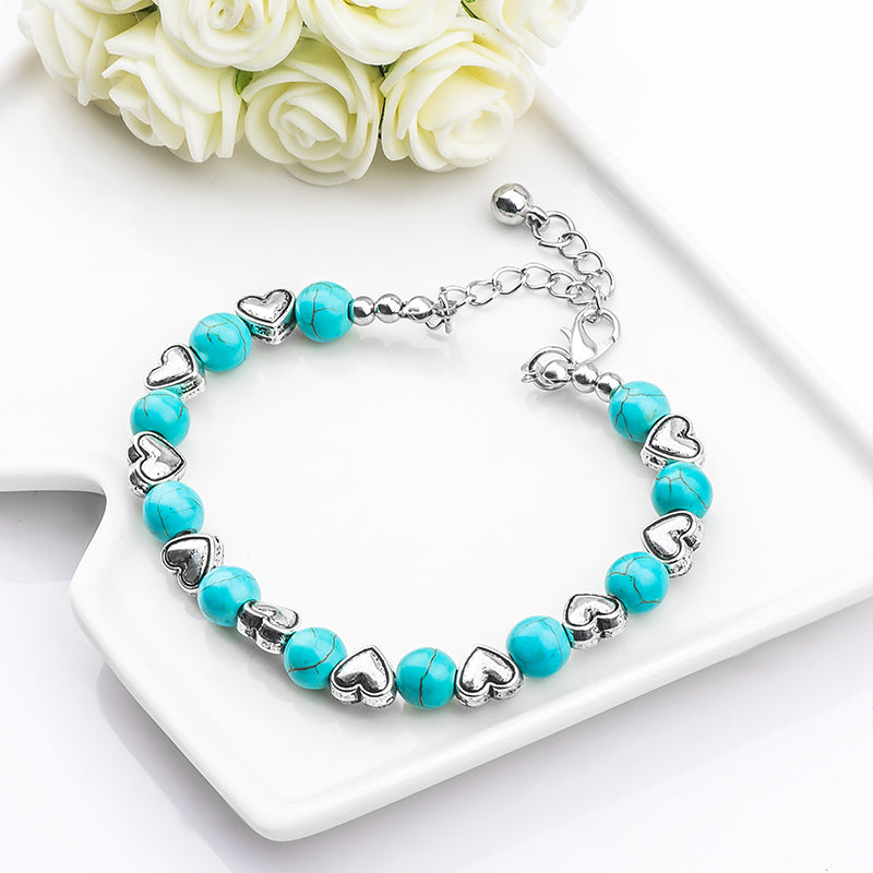 Fashion Bohemia stylish shiny noble heart Natural Stone Beads charming Bracelet Handmade Accessories Fashion Jewelry