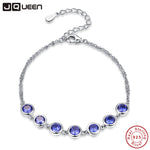 JQUEEN Women Bracelet 100% 925 Sterling Silver Bracelet Blue Tanzanite Shinny Color Fine Bracelet for Women for party 7.99inch