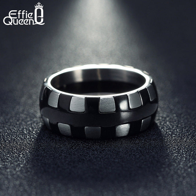 Effie Queen Mens Frosting Surface Ring Stainless Steel Unique Design Finger