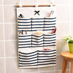 8 Pockets Hanging Storage Bag Door Wall Mounted Home Sundries Clothing Jewelry Closet Organizer Bags Pouch Blue/ Red
