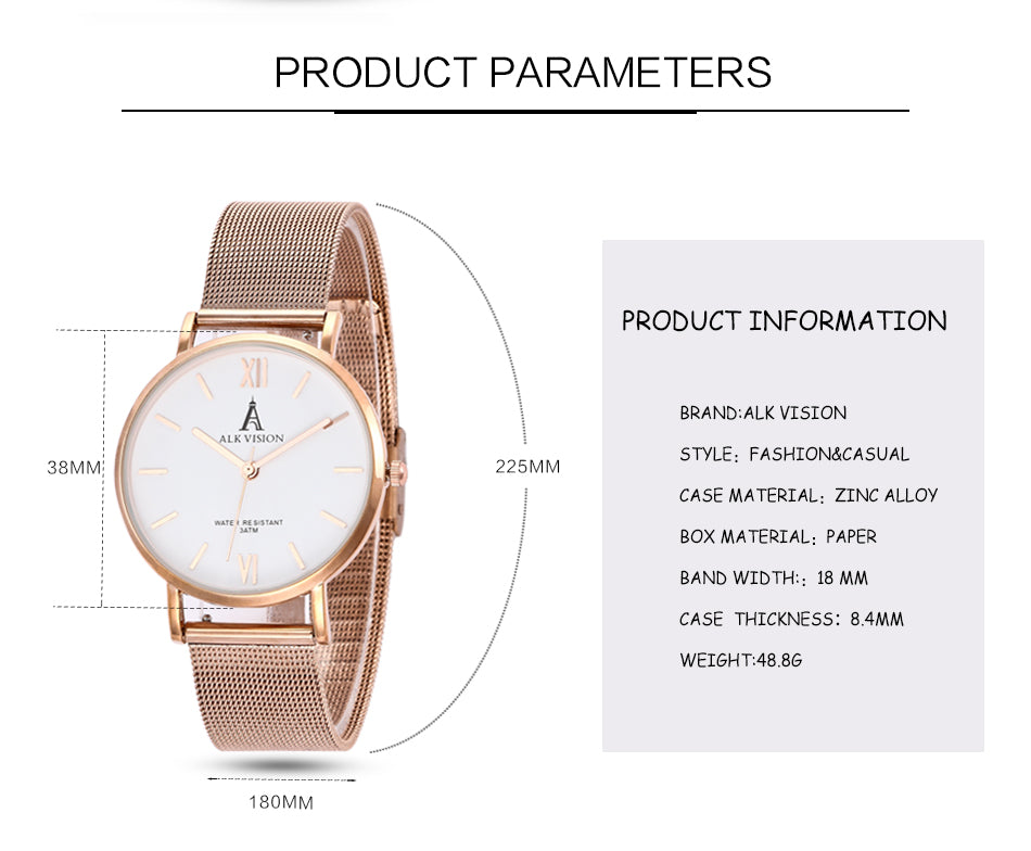 ALK lady watches luxury women ladies watch bracelet rose gold female dress wrist watch brand quartz wristwatch