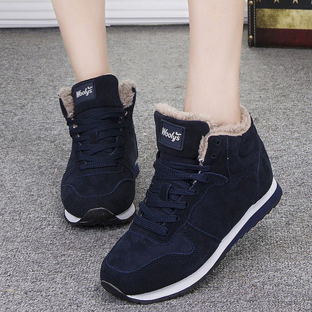Women Boots Warm Women Shoes Winter Snow Boots Fashion Flock Lace Up Winter Botas For Women Ankle Boots  Round Toe Size 41 42