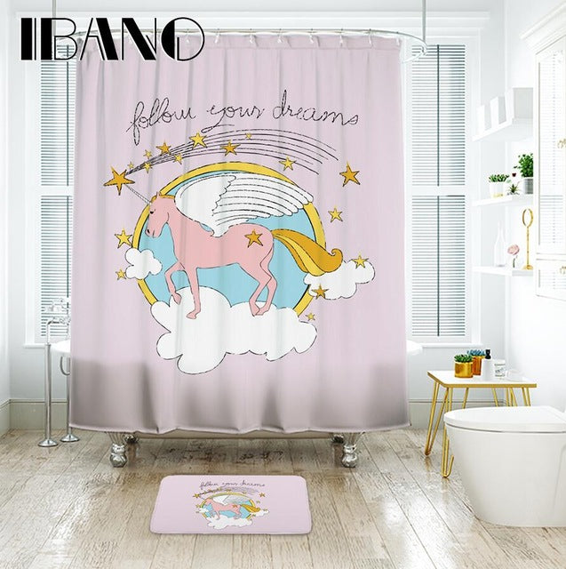 IBANO Find Your Happy Place Unicorn Shower Curtain Waterproof Polyester Fabric Bath Curtain For The Bathroom With 12 pcs Hooks