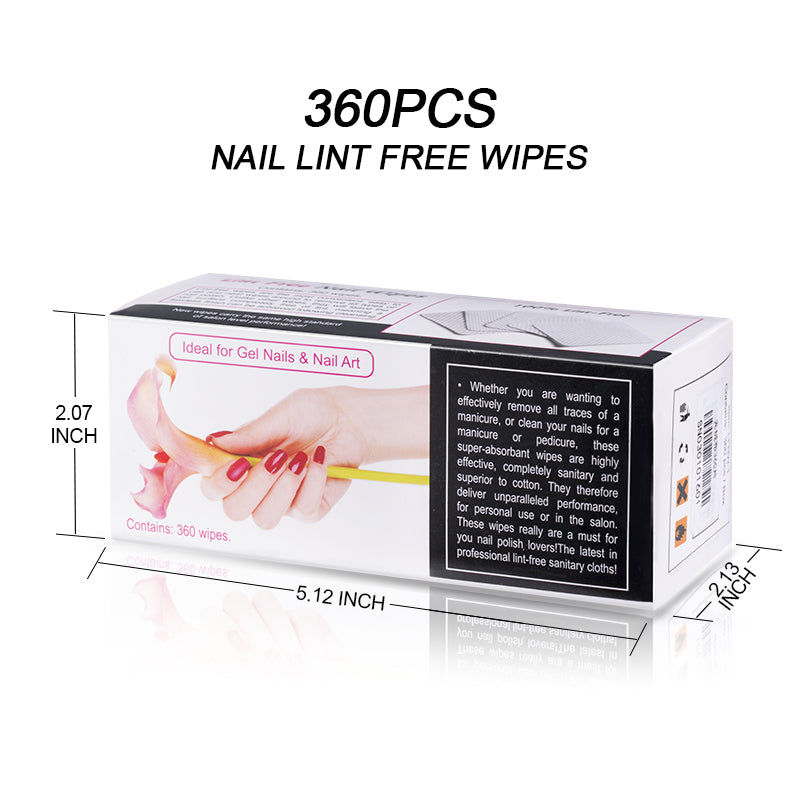 Modelones 360Pcs/Lot Lint-Free Nail Wipes Napkins Nail Art Nail Remover Wipes For Gel Polish Remove Pure Cotton Nails Pads Paper