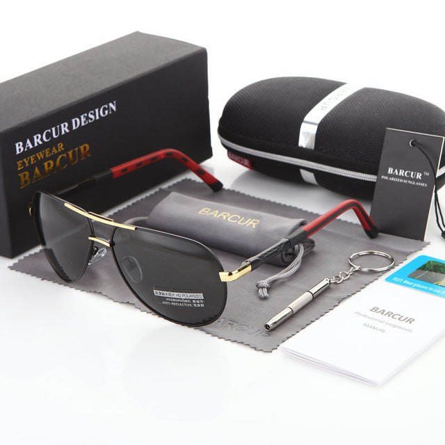 BARCUR Men Sunglasses Brand Original HD Polarized Driver glasses Polaroid Sun glasses Male Pilot Eyewear